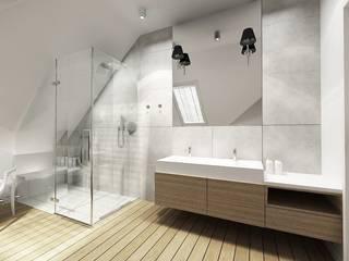 Łazienka na poddaszu od Projektowanie Wnętrz Suspenzo