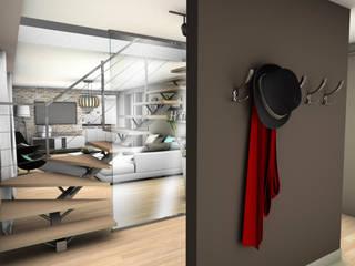 RÉNOVATION D'UNE MAISON DE VILLE PYXIS Home Design Couloir, entrée, escaliers modernes Marron
