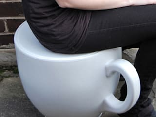 Tea Cup Stool in white:  Garden  by Holly Palmer Contemporary Furniture