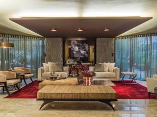 غرفة المعيشة تنفيذ Denise Barretto Arquitetura
