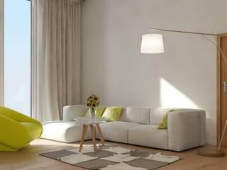 Nowoczesne mieszkanie z żółtymi akcentami od Le Pukka Concept Store Minimalistyczny