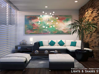Living Room Lights & Shades Studios Salones de estilo moderno