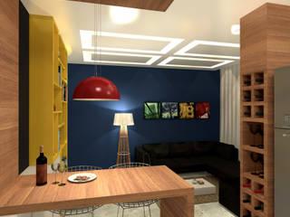 Residência 39m² Tijuca - RJ Konverto Interiores + Arquitetura Salas de estar modernas