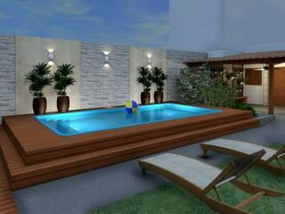 Espaço Gourmet, piscina e fachada - Residência RJ Konverto Interiores + Arquitetura Piscinas modernas
