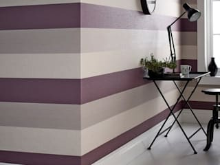 Java Plum Purple and Cream Stripe:   by Wallpaperking
