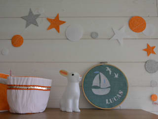 Cadre rond en lin personnalisé Fesse de Rat Chambre d'enfantsAccessoires & décorations