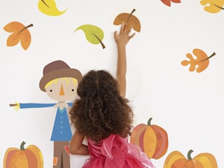 Autumn Scarecrow And Pumpkins Fabric Wall Stickers: modern  by SnuggleDust Studios, Modern