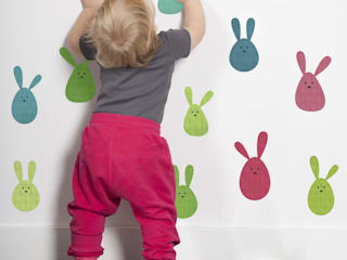 Bunny Rabbit Blobs Fabric Wall Stickers:   by SnuggleDust Studios
