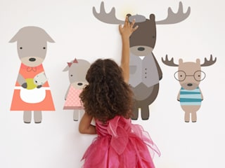 Moose Family Fabric Wall Stickers de SnuggleDust Studios Moderno