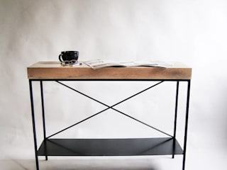 "Oak and steel large modernist console ""TOWER X"" de NordLoft - Industrial Design Minimalista"