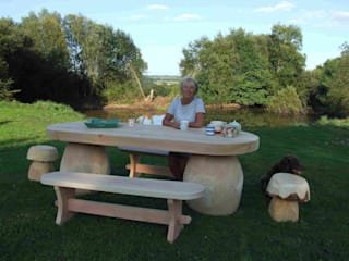 outdoor table:   by Forest Crafts Ltd