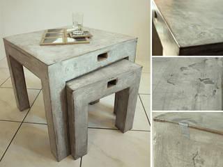 Tables basses gigognes par Karton de Breizh ® - carton recyclé effet béton ciré vieilli:  de style  par Karton de Breizh