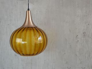 Vintage mid century 1960's glass pendant lamp Proper. Dining roomLighting