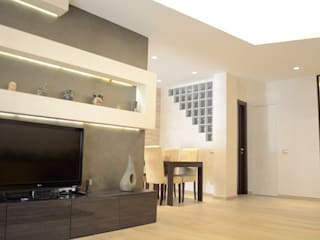 Living room by piano a, Modern