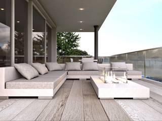 render zona terrazzo ARTREADY Balcone, Veranda & Terrazza in stile moderno