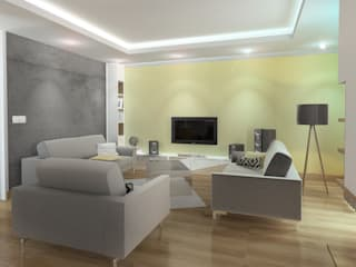 Nowoczesny dom jednorodzinny - BOBREK Nowoczesny salon od D2 Studio Nowoczesny