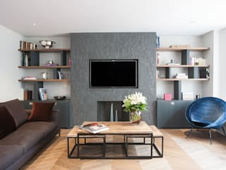 Kensington Church Street Apartment Refurbishment Ruang Keluarga Modern Oleh SWM Interiors & Sourcing Ltd Modern