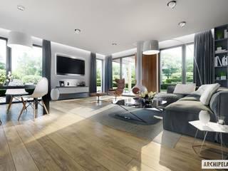 Projekt domu Simon G2 : styl , w kategorii Salon zaprojektowany przez Pracownia Projektowa ARCHIPELAG,Nowoczesny