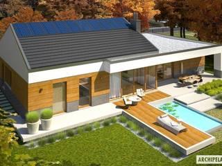 Projekt domu EX 11 G2 (wersja D) : styl , w kategorii Domy zaprojektowany przez Pracownia Projektowa ARCHIPELAG,Nowoczesny