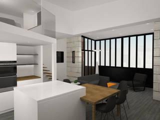 Image 3D du projet -Cuisine / séjour / verrière type atelier: Salle à manger de style  par Agence Ideco