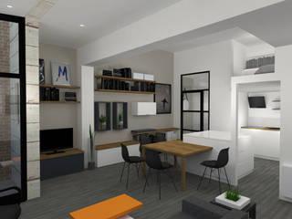 Image 3D du projet -Cuisine / séjour / composition murale sur mesure: Salon de style  par Agence Ideco
