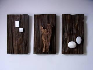 Holzbilder mit aufgesetztem Eisen \ Holz \ Stein von bernd kohl - objekte in holz und stahl Mediterran