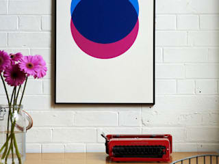 Circles - Blue and Pink Hand Pulled Screen Print:   by Lane