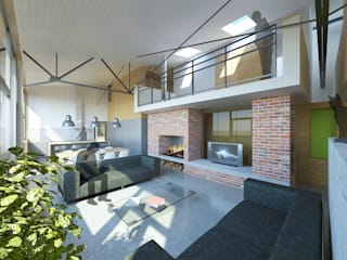 Vue de l'espace de vie: Salon de style de style Moderne par 3B Architecture