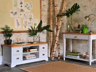 Boston Light Grey Console Table and TV Unit Country style living room by The Cotswold Company Country