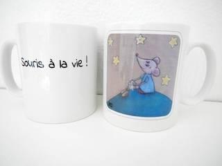 Mug blanc céramique illustration rêves et étoiles Betty:  de style  par Les petites Betty's