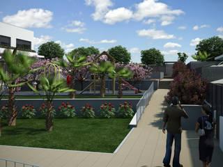 Parcela RU2B AR Nuevo Tres Cantos (Madrid) 12 viviendas unifamiliares Jardines de estilo moderno de AURIANOVA ARQUITECTOS Moderno