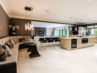 Open-Plan Kitchen, Dining Room and Media Room:  Kitchen by Luke Cartledge Photography