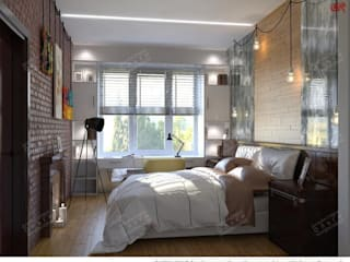 Industrial style bedroom by Дизайн студия Ольги Кондратовой Industrial