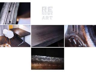 Biurko z blatem z czarnego dębu i żeliwnymi nogami od stołu kreślarskiego Kinexa od ReNowe Art Industrialny