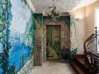 Флигель-пристрой особняка в Новогорске Коридор, прихожая и лестница в средиземноморском стиле от Интерьеры от Марии Абрамовой Средиземноморский