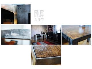 Stalowy stół z dębowym blatem od ReNowe Art Nowoczesny