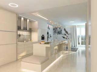 """Квартира в ЖК """"Воробьевы Горы"""": Кухни в . Автор – Архитектурное бюро Лены Гординой"""
