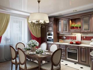 Проект 008: кинозал + кухня + игровая: Кухни в . Автор – студия визуализации и дизайна интерьера '3dm2', Классический