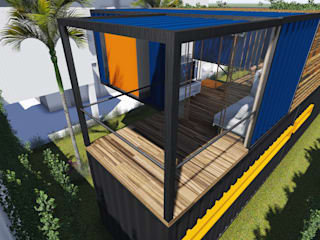 Varanda : Casas  por ESTUDIOFAROL - ARQUITETURA | DESIGN | URBANISMO