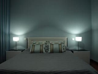 Um quarto muito azul. Quartos modernos por NMVM Moderno
