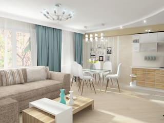 Четырехкомнатная квартира Гостиные в эклектичном стиле от Design Rules Эклектичный