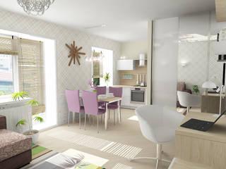 Однокомнатная квартира на улице Пушкинская Гостиные в эклектичном стиле от Design Rules Эклектичный