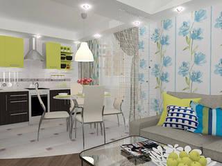 """Двухкомнатная квартира в жилом комплексе """"Онежский дворик"""" Гостиные в эклектичном стиле от Design Rules Эклектичный"""
