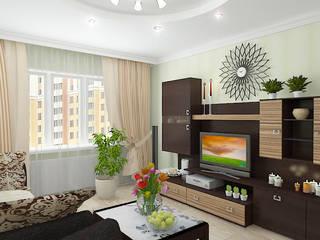 """Двухкомнатная квартира в жилом комплексе """"Юбилейный"""" Гостиные в эклектичном стиле от Design Rules Эклектичный"""
