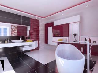 Katarzyna Wnęk 現代浴室設計點子、靈感&圖片 陶器 Pink