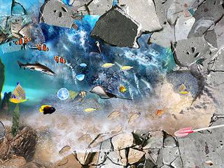 Bespoke Vinyl Flooring - Sea life Designs Baños de estilo mediterráneo de Blue Butterfly Flooring Mediterráneo
