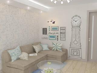"""Трехкомнатная квартира в жилом комплексе """"Онежский дворик"""" Гостиная в средиземноморском стиле от Design Rules Средиземноморский"""