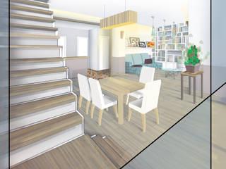 Extension sur terrasse et rénovation maison R+1 Salle à manger moderne par I.D.E.E Moderne