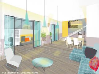Extension sur terrasse et rénovation maison R+1 Salon moderne par I.D.E.E Moderne