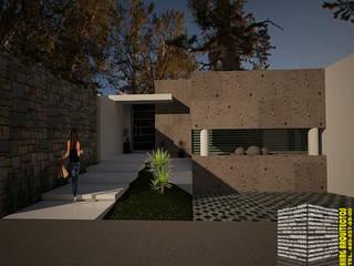FACHADA CON FUENTE: Casas de estilo  por HHRG ARQUITECTOS